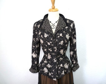 Vintage 80s blouse floral print Button front Carole Little Long sleeve  Size S/M
