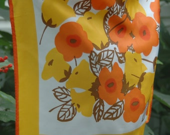 Vintage Vera Neumann Neck Scarf Orange Poppies