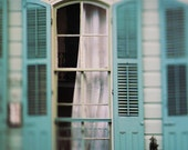 "New Orleans Photography French Quarter Art for Sale. ""Ghostly Window"" Art Print. Blue Shutters, Haunted, Dark, Ghostly"