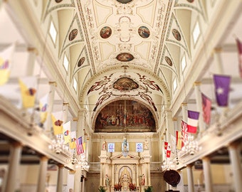 "New Orleans St. Louis Cathedral Photograph ""Cathedral Aisle"" Photo Print, French Quarter Fine Art Print. 8x10, 11x14, 16x20, 20x24"