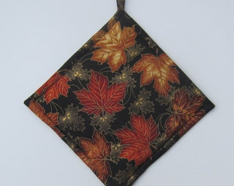 Red Gold Fall Leaves Metallic Set of Two Pot Holders