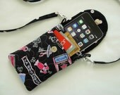 Iphone 6 Case Smart Phone Gadget Case Detachable Neck Strap Quilted Paris Theme Pink Blue Black