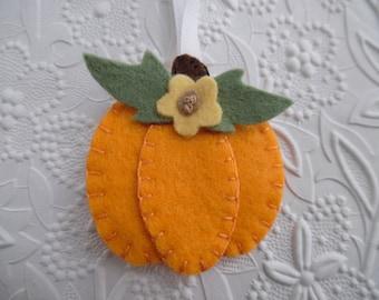 Pumpkin Ornament Felt Primitive Decoration Fall Felted Wool Sunflower