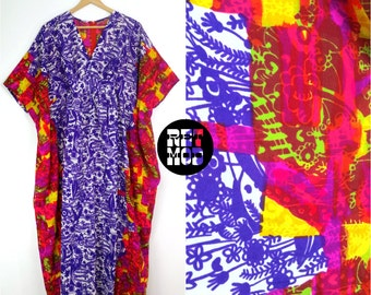 AMAZING Psychedelic Vintage 70s Abstract Bold Color Caftan Dress with Purple and Pink and Rainbow Colors!!
