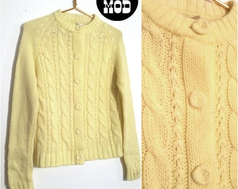 Vintage 60s Super Cute Pastel Yellow Cable Knit Button Down Cardigan Sweater!