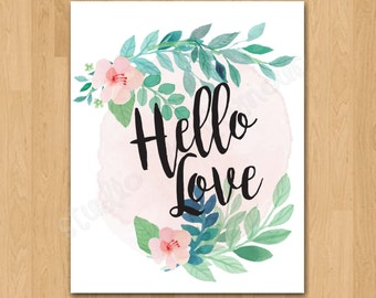 "Gallery Wall Art Printable ""Hello Love"" 8x10 Print"