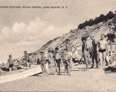 Vintage Postcard - Long Island - Sound Beach Life Guard Station - original 1940s sun bathers and musclemen retro beach scene