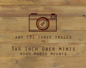 Photography on Wood, any three 3x4, wood photo blocks, art on wood, art prints, wall art, shelf art, wood mounted art, small space wood art