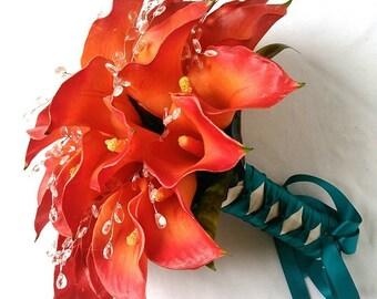 Persimmon, Burnt Orange, Yellow / Orange, Red Orange, Calla Lily Real Touch, Latex, Wedding Bridal Bouquet Set.