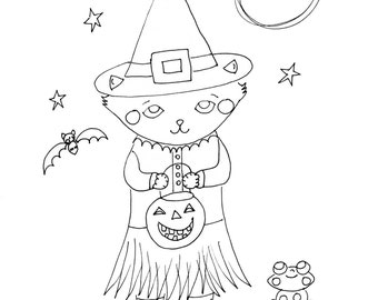 Witchy Kitty, digital coloring page