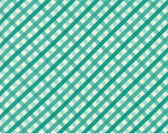 Moda Fabric ACREAGE Aqua Diagonal Gingham- yards