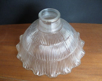 Vintage Ribbed Glass Lamp Shade