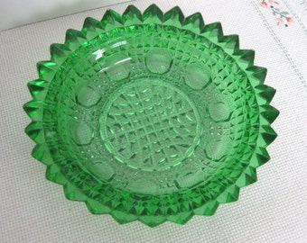 Vintage Round Green Glass Candy Dish with Sawtooth Edge
