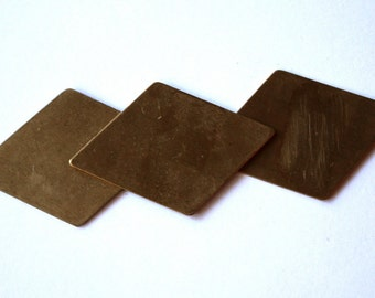 3 Vintage Rustic Brass Diamond Stampings // 1960s Brass Plates // 50s 60s Diagonal Finding // NOS