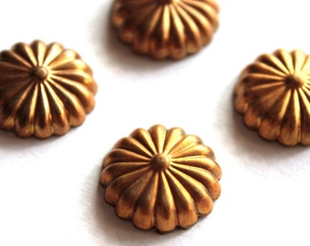 4 Vintage 1960s Round Brass Shell Shield Stampings // 50s 60s Craft Jewelry Supply //  Roman // Art Deco Style // NOS