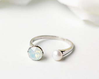 Swarovski White Opal And Pearl Silver Ring Milky Opalescent Crystal Minimalist Adjustable Ring