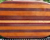 OOAK Large Oval Multi-Wood Cutting Cheese Board