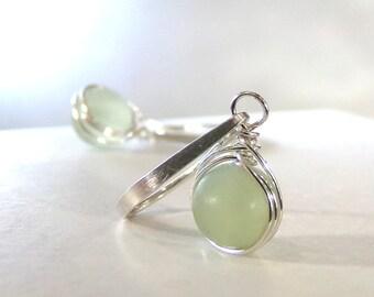 New Jade Earrings, Sterling Silver, Pale Green Earrings, Natural Stone, Chartreuse Earrings, Celery Jade Earrings - Celery