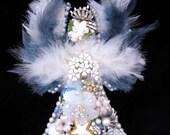 Vintage Jewelry Angel - Angel Art - Jewelry Wall Art - Home Decor - Vintage Jewelry Art - Winter Angel