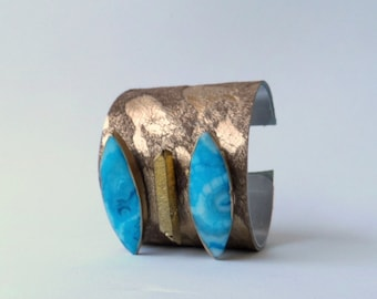 "leather cuff bracelet  -acid washed hair on hide with gold crystal and blue agate -  2"" wide"