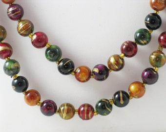Vintage Very Long Single Strand Multicolored Beaded Necklace  (N-4-2)