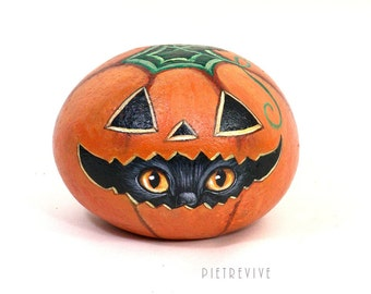 Halloween pumkin, hand painted on a stone by Ernestina Gallina - home decor - gift - one of a kind