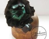 Large Silk & Organza Rose Millinery Hat Fascinator Flower - Chocolate Brown and Jade