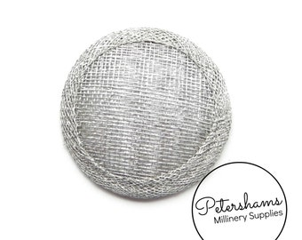 Mini 6.5cm Sinamay Hat Base for Fascinators & Millinery - Metallic Silver