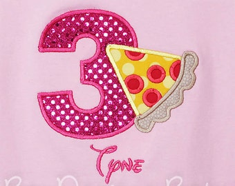 Pizza Birthday Shirt, Number, Pizza Party Birthday Number, Custom Colors, Any Age, Girls Pizza Birthday Shirt