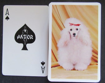 Complete Vintage Deck of Astor Playing Cards-Poodle on Yellow Background