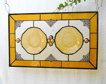 Stained Glass Plate Panel, 1930s Depression Glass, Stained Glass Transom Window, Antique Pineapple and Floral Stained Glass Window Valance