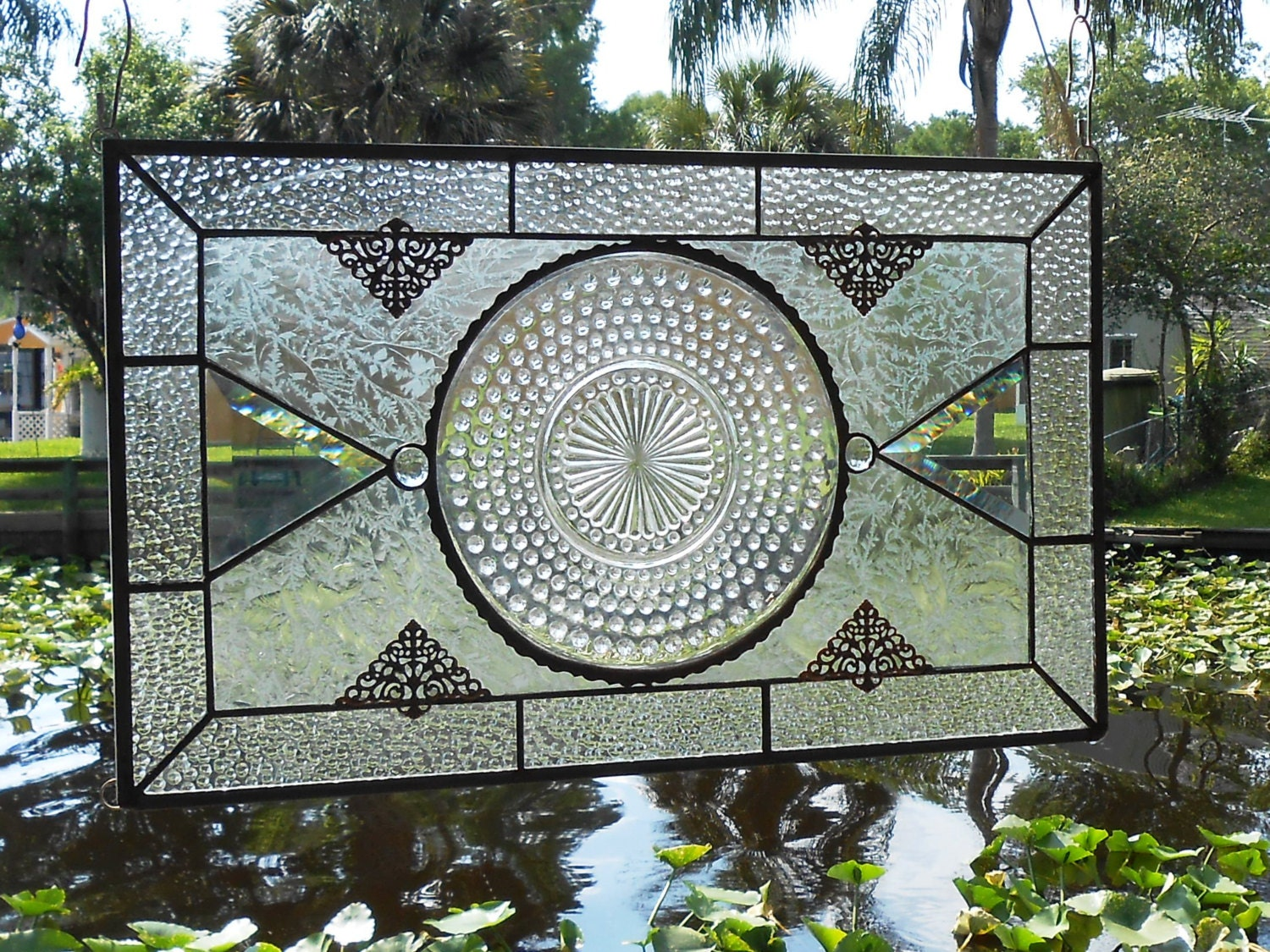 Stained Glass Panel With 1930s Crystal Hobnail Depression