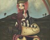 Tank girl lowbrow misfit whimsical fine art pop surreal print - War games send inthe artillery 1
