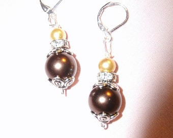 Frosted Gold and Rich Brown Beaded Dangle Earrings