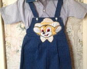 Boys deadstock mouse overalls and shirt two piece set 2t