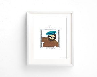Sloth in a Cartwheel Hat (100 Animals in Hats Series) - Giclee print of original collage illustration - 8 x 10in