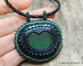 RESERVED: Mermaid Tears -  Organic Genuine Amalfi large green  Sea Glass - statement necklace - bead embroidery