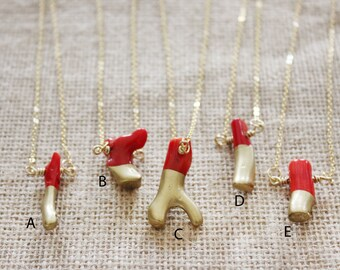 "Brass-Dipped Coral Branch Pendant Necklaces, Red Bamboo Coral Dipped in Gold Liquid Gilding Necklaces, As Seen On Freeform's ""The Fosters"""