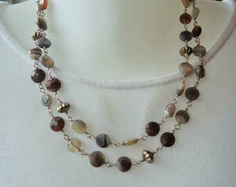 Long necklace, sterling silver & Botswana agate, multi or single strand, unique, fine jewelry,statement