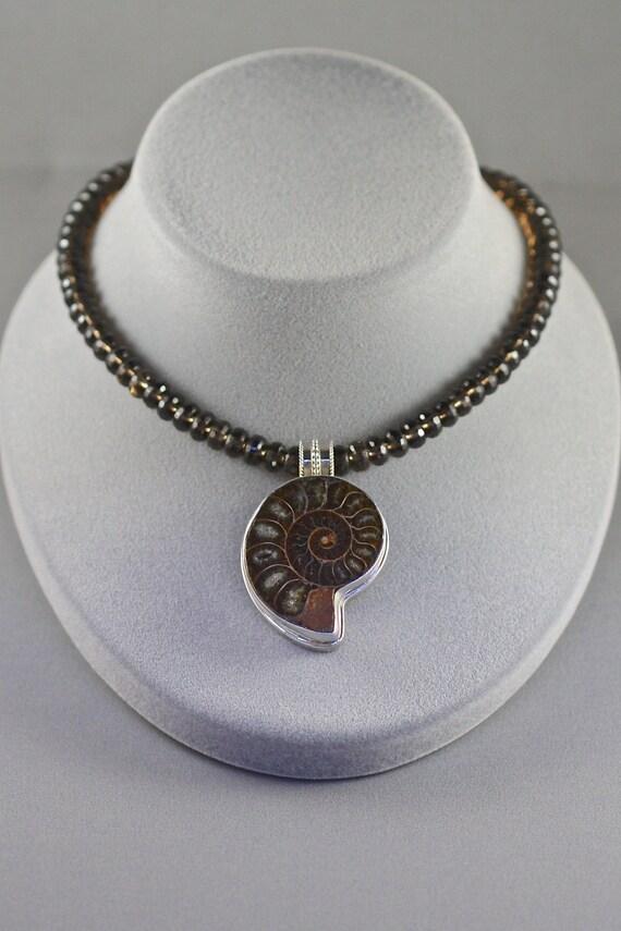 Ammonite Pendant, Smokey Quartz Necklace, Shell Pendant, Brown and Silver, Statement Jewelry, Faceted Smokey Quartz, Shell Necklace, Gift
