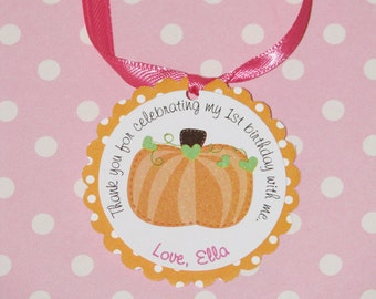 Pumpkin Favor Tags with hearts and polka dots --12 Total