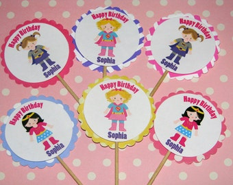 Superhero Cupcake Toppers For GIRLS - 24 Cupcake Toppers