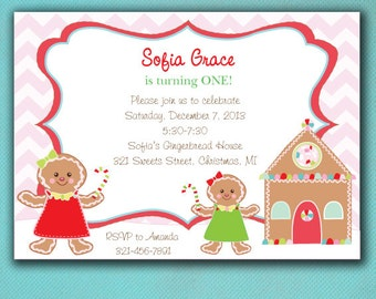 Cookie Decorating Party Invitations, Gingerbread Girl Birthday, Gingerbread House --PRINTED Invitations
