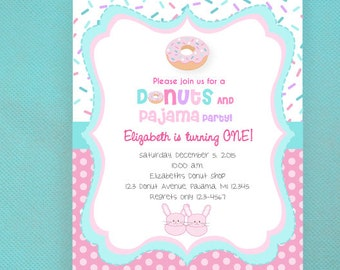 Donut and Pajamas Invitations, Donuts and Pajamas Party, Donuts and Pjs - PRINTED invites comes with envelopes