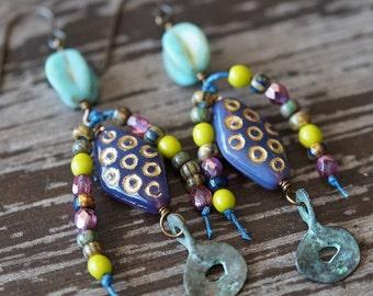 Purple Boho - Eclectic Earrings - Long Rustic Earrings - Gypsy Jewelry - Turquoise and Purple - Bead Soup Jewelry