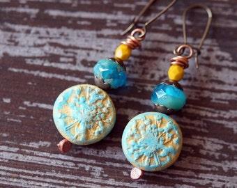 Boho Coin Earrings - Willow Earrings - Polymer Clay Earrings - Blue and Yellow - Coin Earrings - Bead Soup Jewelry