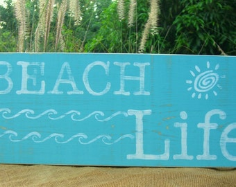 BEACH LIFE Wooden Hand Painted Sign, Wall Decor, Gallery Wall Art, Beach Home Decor, Black Friday,Cyber Monday,Beach Weddings,Holiday Gift