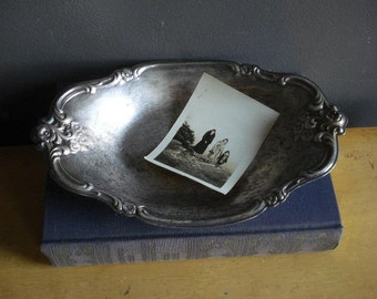 Vintage Silver Floral Tray - Oval International Silver Co. Silverplate Mini Platter or Mini Serving Tray