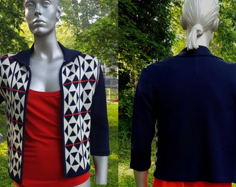 Womens 70s Jacket /Vintage Jacket in Red, White and Blue/ Vintage Sweater in Diamond and Triangle Pattern Jacket Size 8