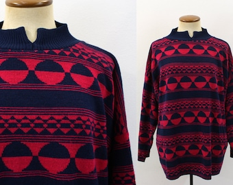 1980s Sweater Slouchy Knit Graphic Print Geometric Blue Pink Split Neck Boho Oversize Jumper Ski Lodge Pullover Hipster Vintage 80s Large XL